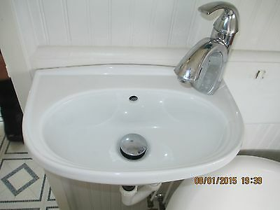 Very Small White Porcelain Bathroom Sink W/ Wall Mount Bracket & Faucet We Ship!