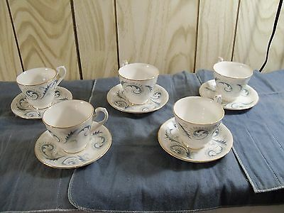 5 Royal Standard Cup & Saucer Sets - GARLAND Pattern - Made in England
