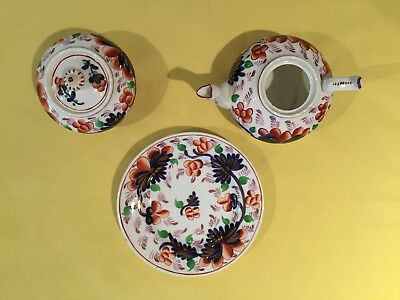Gaudy Welsh Grape Pattern Early Child's Partial Teaset-Teapot, Sugar, Plate-Nice