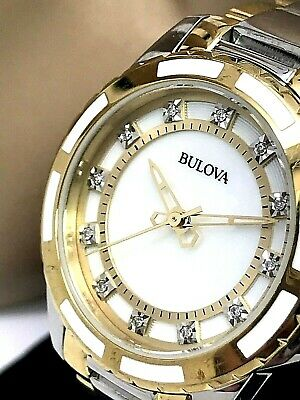 Bulova Women's 98P140 MOP Diamond Dial Quartz Two Tone Stainless Steel Watch