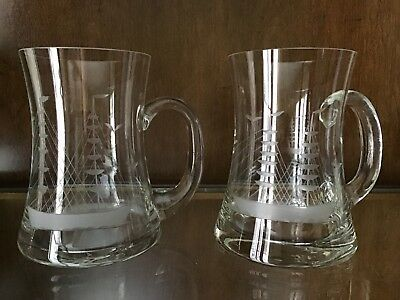 Large Vintage Pair Of Etched Clipper Ship Crystal Mugs