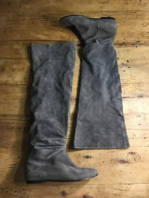 42e902b7a77 Dolce Vita Anthropologie Grey Preforated Suede Over Knee Boots Womens Size  6 M