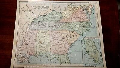 Original 1880 color Map of Southern United States Easter Division