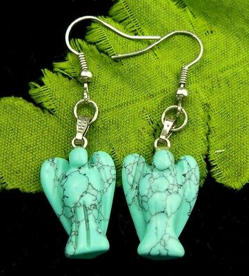 1Pair Blue Turquoise carved angel 21x14x7mm Earrings