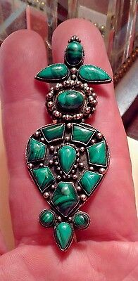 """Chinese Silver 15 inlaided Malachite gem stones Brooch & Pendant 3"""""""