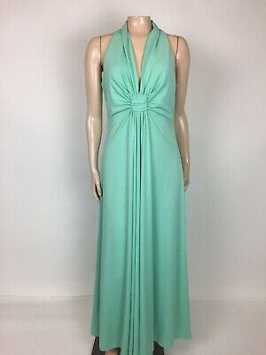 1ebd43e2bea Vintage 70 s Women s Dress Formal Long Polyester Turquoise Blue Prom Party  ...