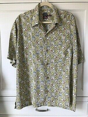62a8591ad Quiksilver Silver Edition Hawaiian Sz M Luau Camp Shirt Green US Postage  Stamps