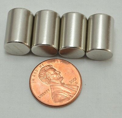 4 pcs Strong Round Long Cylinder N50 Magnets 15mm x 10mm Rare Earth Neodymium