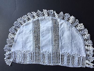 Antique Tea Cosy Cover white lace edged 1940's Handmade Linen New Like