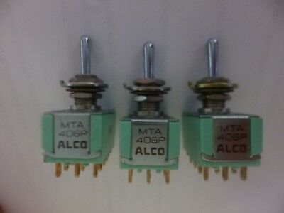 LOT of 3 ALCO MTA 406P ON- OFF -ON Panel Mount Toggle Switch 6A 125V, Clean NOS