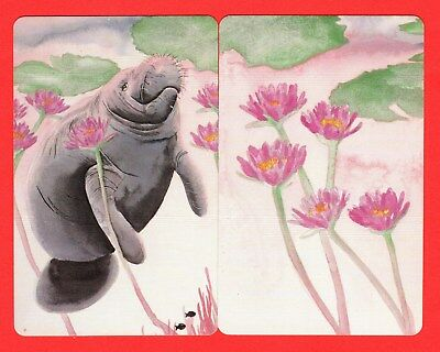2 Single VINTAGE Playing/Swap Cards ANIMALS DUGONG SEA-COW A16
