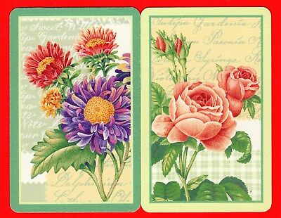 2 Single VINTAGE Swap/Playing Card FLOWERS DAISIES ROSES BUDS #69