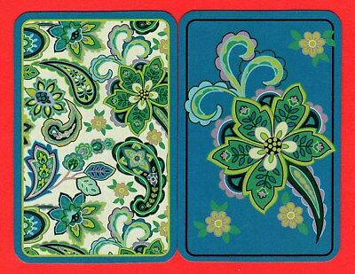 2 Single VINTAGE Swap/Playing Card FLOWERS LEAVES PAISLEY DESIGN #74