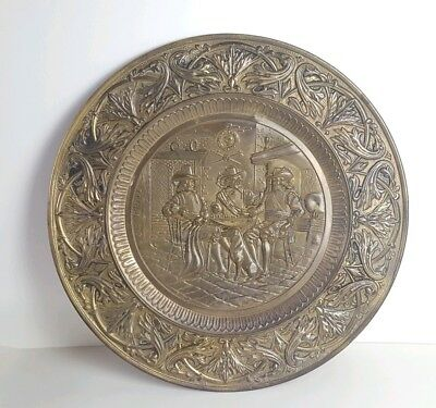"""Vintage Large Brass Charger Wall Hanging Plate Plaque Decoration Pub 20"""""""