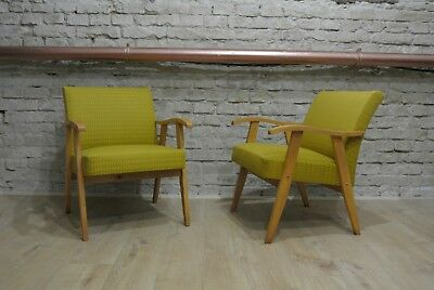 Mid-century 60s armchairs, vintage Hungarian, fully restored