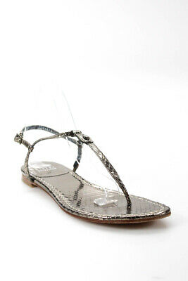 8f87ac009 Stuart Weitzman Womens Leather T-Strap Sandals Silver Size 7.5