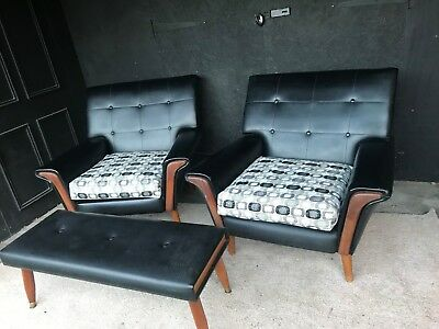 Vintage Retro Mid Century Pair Of Black Vinyl 1960's Arm Chairs and Vinyl Bench