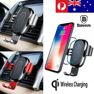 Baseus Car Mount Qi Wireless Charger Quick Charge Fast Charging Pad Holder AU