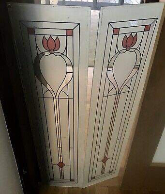 Antique Door Tulip Glass 4 Panel 23.5 x104 Stained Etched Lead Glass Victorian