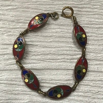 Vintage Small Red Enamel Ovals with Colorful Shapes Brass Link Bracelet – 7 inch