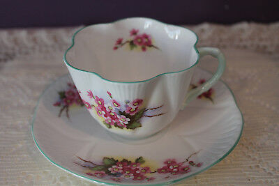 Shelley 'pink Blossoms' Dainty Shape Tea Cup And Saucer With Green Handle & Trim