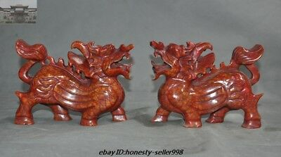 Old Chinese FengShui Red Jade Carved kylin Kirin Chi-Lin Kilin Qilin Statue Pair