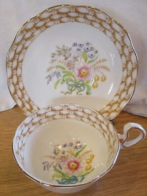 Vintage Royal Albert Hand Painted Flowers & Basket Trim Tea Cup & Saucer England