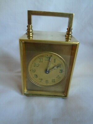 Miniature French Brass Carriage Clock In Original Carry Case + Key In Gwo