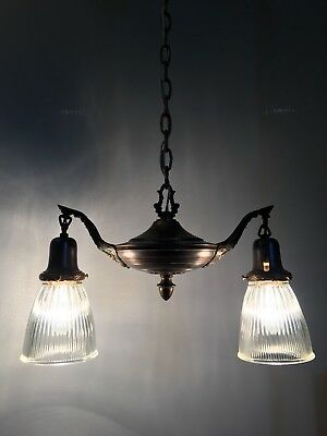 """31"""" Double Arm Pendant Light With Ribbed Glass Shades Antique Light 17B"""