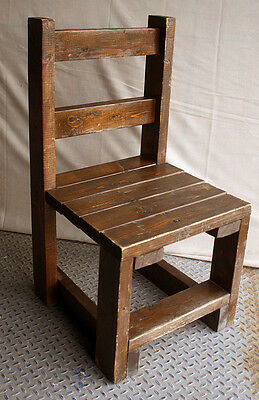 Vintage Mission Handmade Homemade Primitive Solid Knotty Pine Wood Wooden Chair