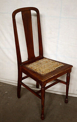 Antique Vintage Solid Wood Wooden Dining Side Accent Chair Floral Fabric Seat