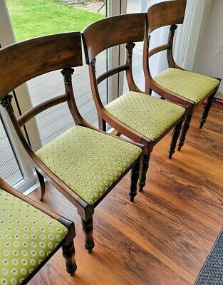 Stunning set of 6 William IV Vintage Antique Cuban Mahogany Dining Chairs