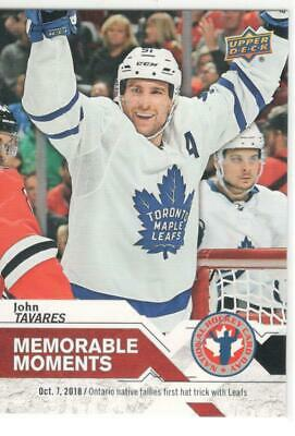 2019 Upper Deck  National Hockey Card Day Canada Memorable Moments John Tavares