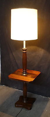 Vintage Antique Solid Wood Wooden Floor Lamp Light Side End Accent Sofa Table