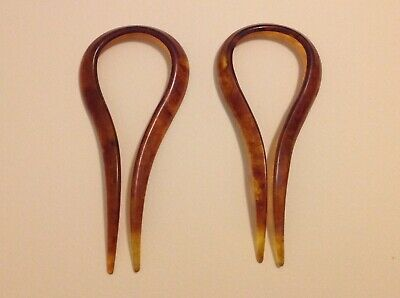 Pair of large antique vintage faux tortoise shell hair pins forks two prong