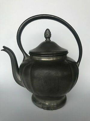 Pewter Teapot Early American L.B.