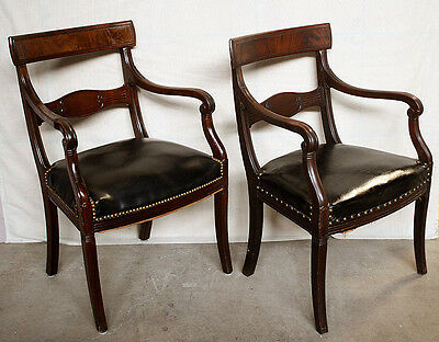 Pair of Antique Walnut Wood Side Lounge Parlor Chairs Vinyl Leather Seat Cushion