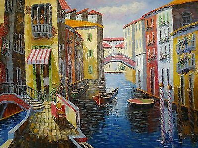 Charming Venice Grand Canals Original Oil Painting On Canvas 48 x 36 In.Signed.