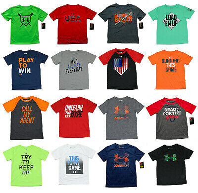 Under Armour Heatgear Boys T-Shirts - Size 3T 4T 4 5 6 7 - New w/Tags 40+ Styles