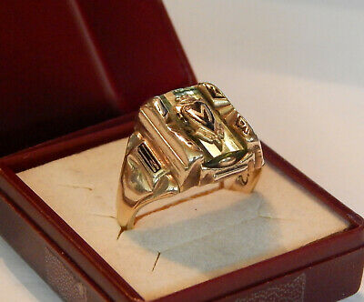 ART DECO! Antiker 1929 High School Siegel Herren RING 10K GOLD Bruchgold? 10Gr!