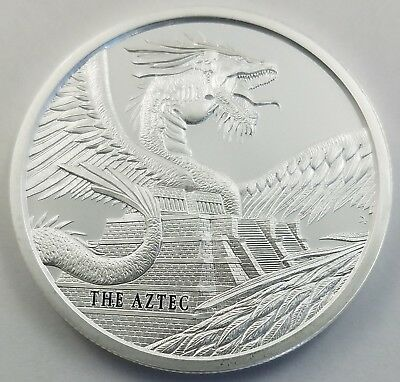 The Aztec World of Dragons 1 Oz 999 Silver Round Quetzalcoatl Snake GEM BU
