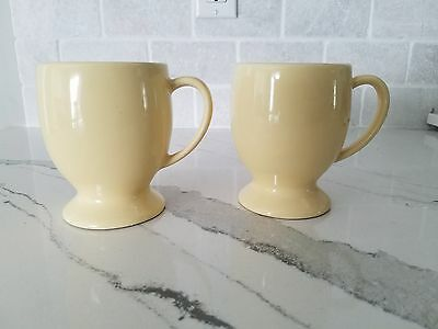 4 Southern Living At Home Hospitality Pedestal Mugs Butter Yellow Gail Pittman