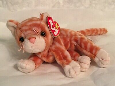 TY Beanie Baby - AMBER the Cat - Pristine with Mint Tags -PE Pellets - RETIRED