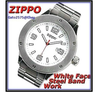 080048c6d BRAND NEW - Zippo Watch with White Face Stainless Steel Band - Men's ...