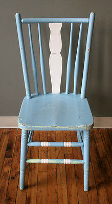 Antique Vintage Old Solid Wood Wooden Spindle Fiddle Back Side Dining Chair