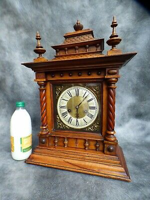 A Good Clean Mahogany Cased Hac Gong Strike Mantle Clock With Key *serviced*