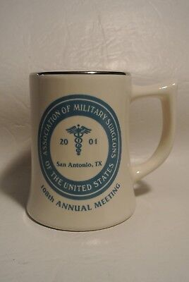 2001 Association of Military Surgeons White Mug w/ silver trim San Antonio, Tx.