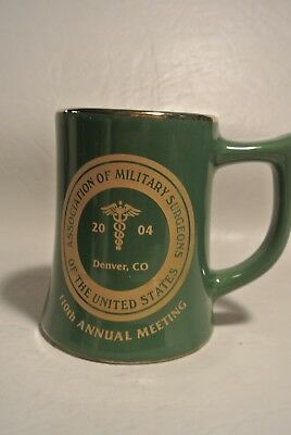 2004 Assication of Military Surgeons Green Mug w/ Gold Trim Denver,Co.