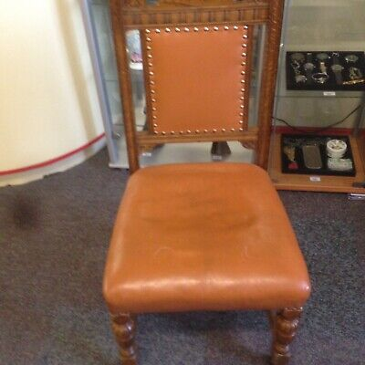 Beautiful Antique Vintage Small Leather 💺 Covered Wooden Chair On Casters *
