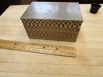 VINTAGE  Metal And Wood Cigarette Box Trinket Dresser